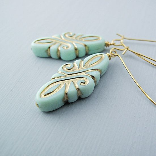 Mint and Gold Earrings Vintage Flourish Design by jFrancesDesign