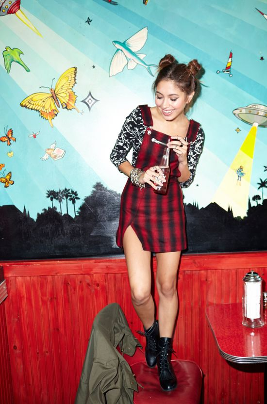 Cat Fight Crop Top, Brixton Romper, and Converge Combat Boot by #ShoeCult by #NastyGal.
