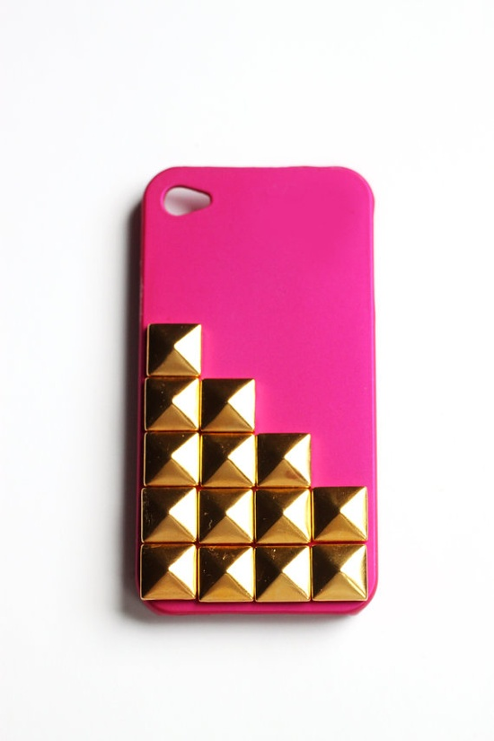 Hot Pink Fat Studded cellphone cover Hard case by honeycrush, $16.80