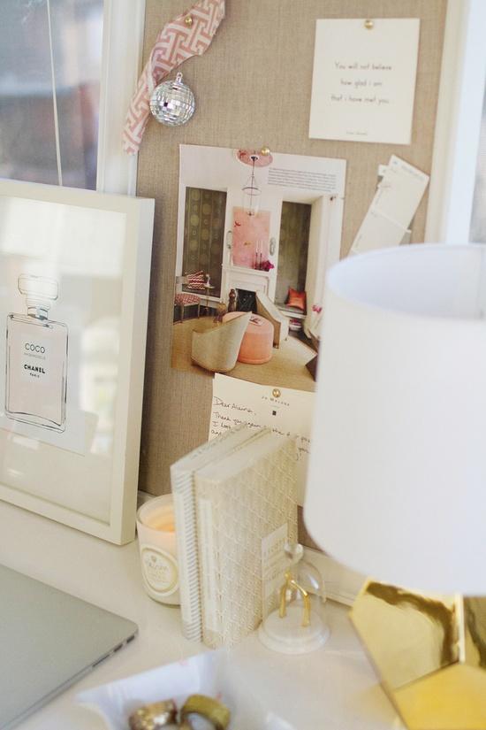desk // pink and gold // feminine