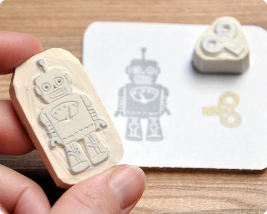 Robot hand carved rubber stamps