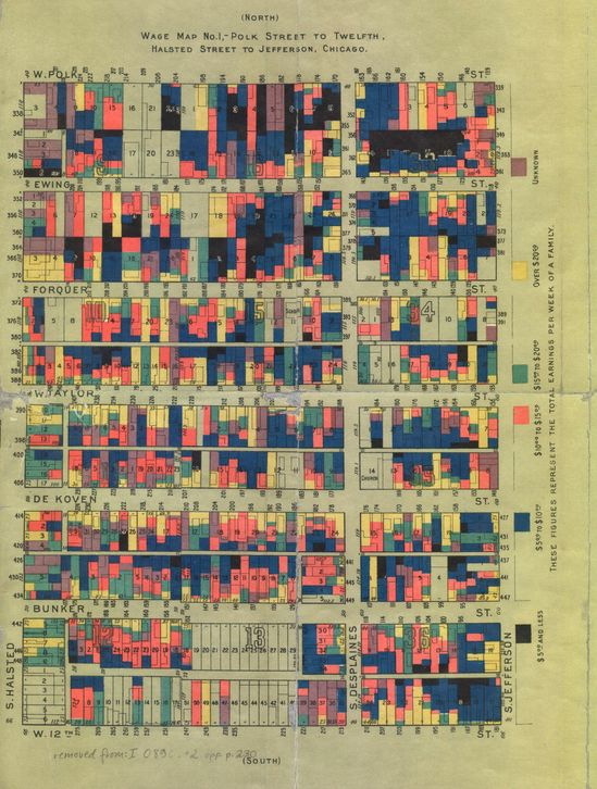 """Here is a detail of the Chicago map of """"nationalities,"""" along with the legend identifying the ethnicity of each home. a series of wage maps to accompany those of nationality, identifying the relative levels of income in each household. The black represented the lowest wage, so as to make it easier to identify the severest level of poverty. These maps were collaborations between several members of Hull House, most importantly Florence Kelley and Agnes Holbrook."""
