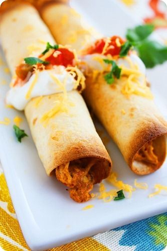 Baked Chicken Taquitos- The Comfort of Cooking. These are really good and pretty easy. Before baking, sprayed with cooking spray and lightly sprinkled with Kosher salt. Yummy!