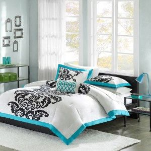 White/black/turquoise damask bedding set...love? Perfect set for guest room...nice:)?