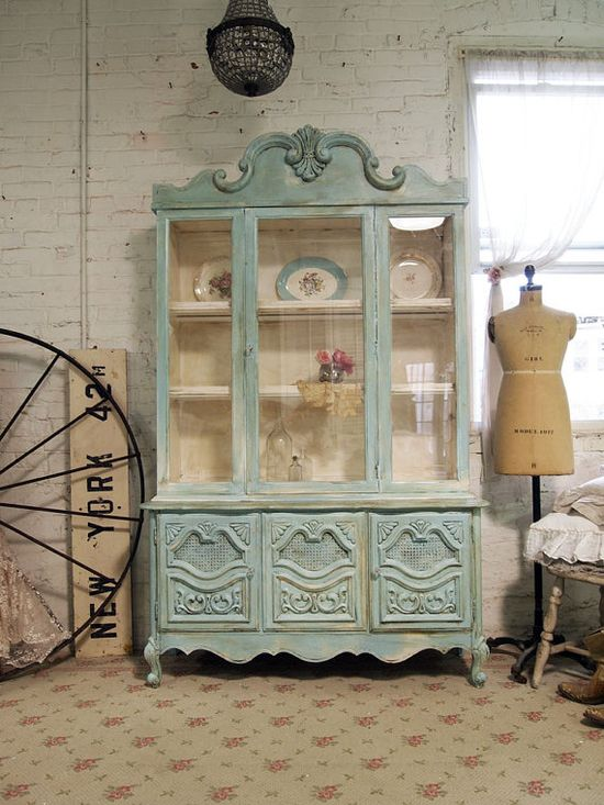 Painted Cottage Chic Shabby Aqua China Cabinet by paintedcottages