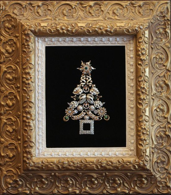 Framed Antique and Vintage Jewelry Christmas Tree. $100.00, via Etsy.