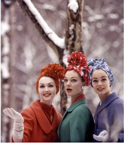 Dressing for the snow. Vintage winter hats and coats. 1950s.