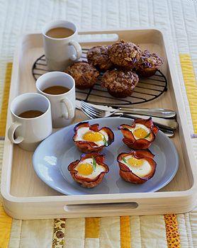 Baked Eggs and Mushrooms in Ham Crisps Recipe at Epicurious.com