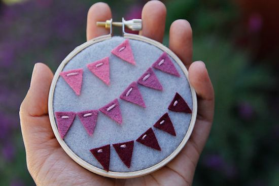 Embroidery Hoop Art Ombre Felt Bunting Wall Art by by CatShyCrafts