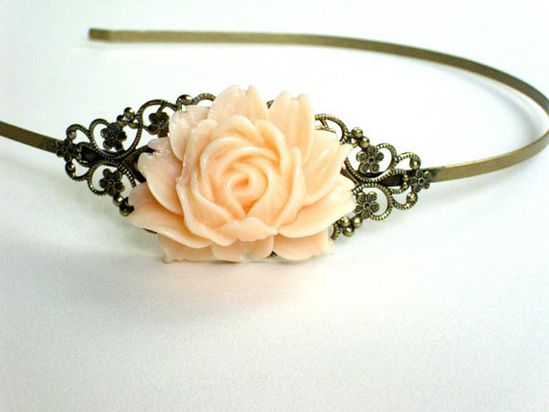 Brass headband with salmon colored rose resin by HirasuGaleri, $18.00