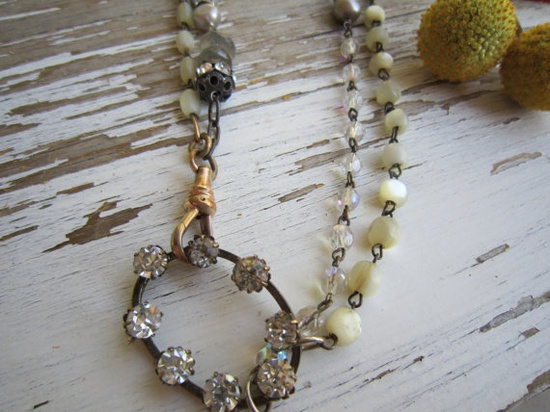 Vintage crystal and mother of pearl rosarie