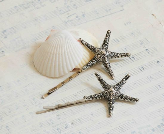 Silver STARFISH Hair Accessories Bobby Pin Set by redtruckdesigns