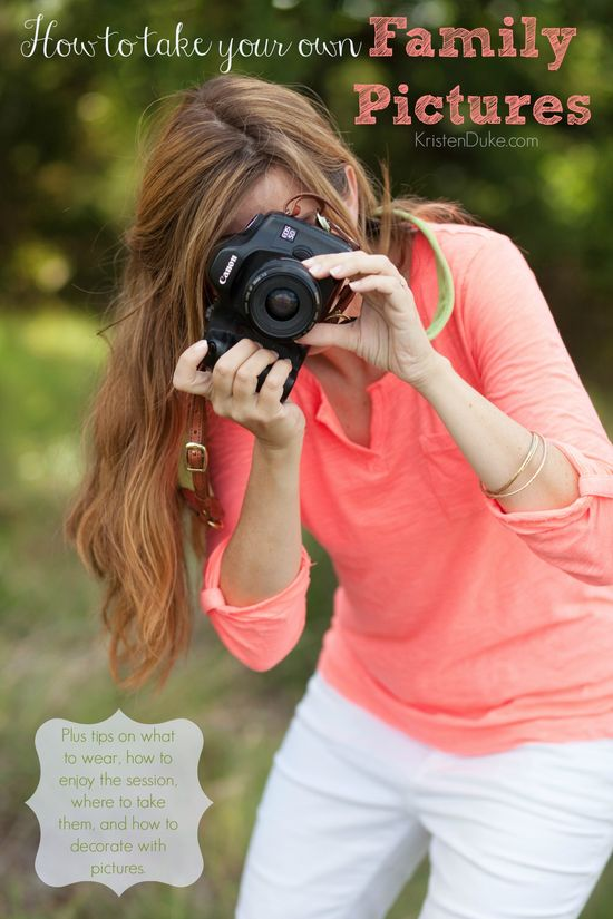 How to Take your Own Family Pictures, along with a series of  where to take pictures, what to wear, how to enjoy, and decorate with pictures.  www.KristenDuke.com #photography #photos tips