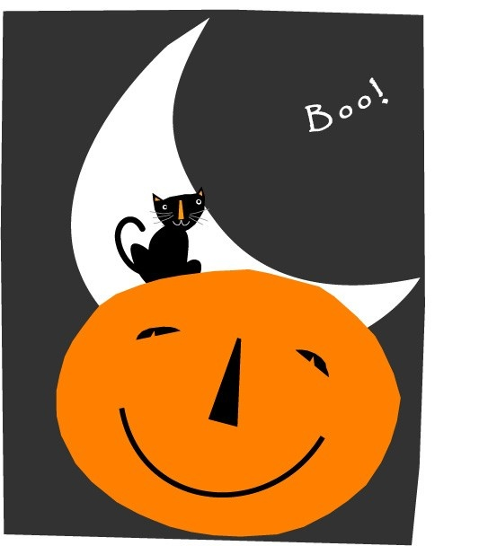 boo small black cat halloween card.