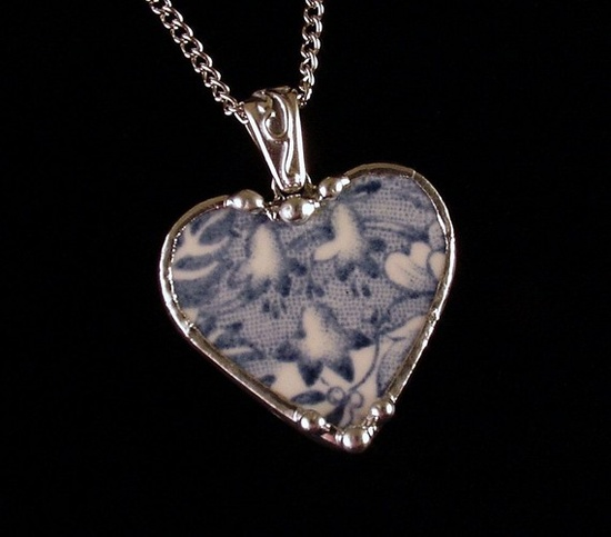 bluebells blue toile heart pendant made from broken china by Dishfunctional Designs