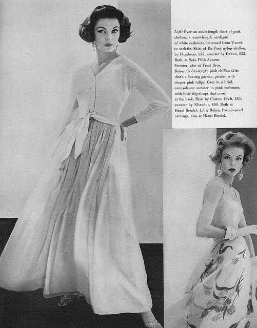 A mid-1950s take on maxi skirts from the December 1956 edition of Vogue magazine. #vintage #1950s #fashion #skirt
