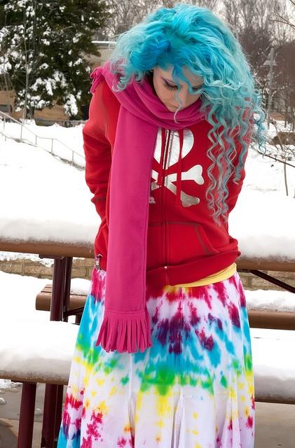 blue, curly, hair