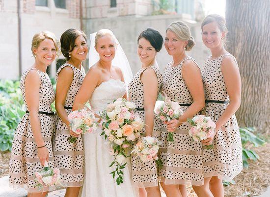 Polka dot bridesmaids dresses
