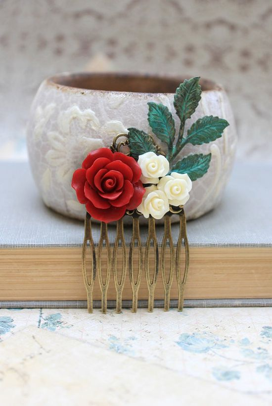 Winter Hair Accessories Rose Hair Comb Deep Red by apocketofposies