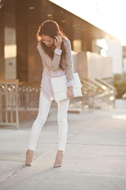 White denim + white envelope clutch