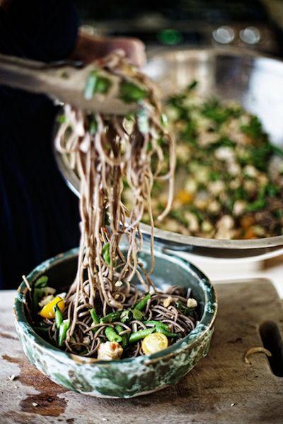 buckwheat noodles . green beans . toasted sesame lime vinaigrette