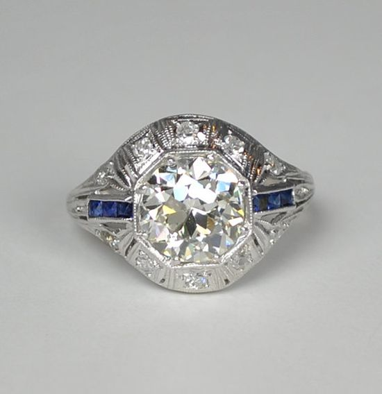 Art Deco Large Platinum Diamond and Sapphire Ring