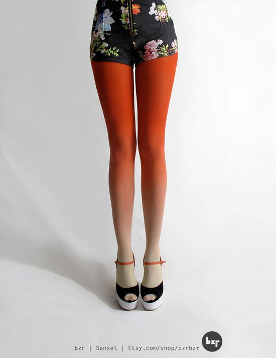 bzr Ombré tights in Sunset by BZRshop on Etsy, $45.00. Too expensive but awesome idea.