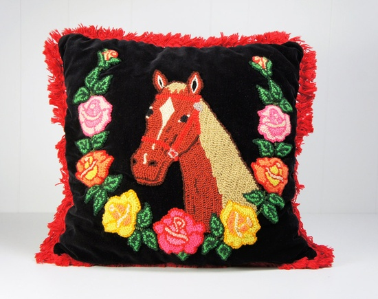 Vintage 1950s Embroidered Horse Pillow