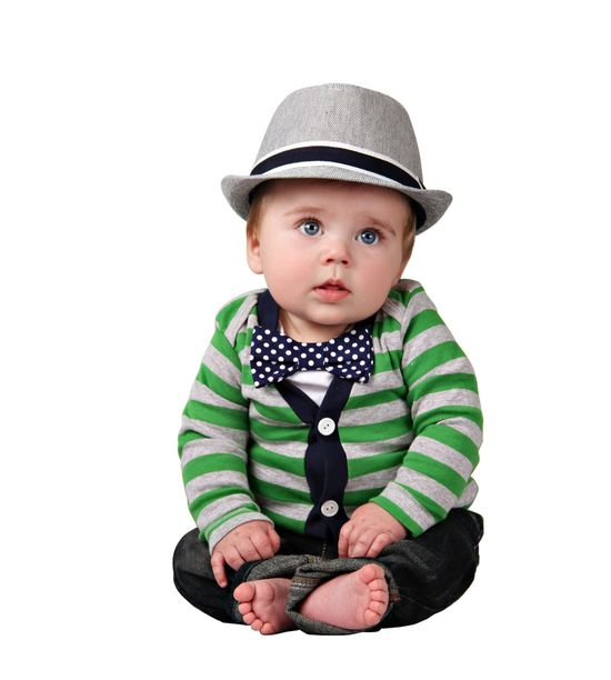 Cardigan and Bow Tie Onesie Set - Green with Navy Polka Dots - Trendy Baby Boy. $40.00, via Etsy.