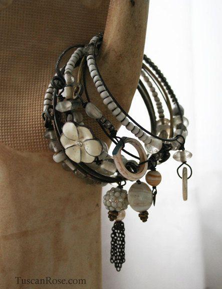 ON SALE - Prairie Wedding Bangle Stack- set of 10 Bangles - gypsy white bracelets. $38.00, via Etsy.