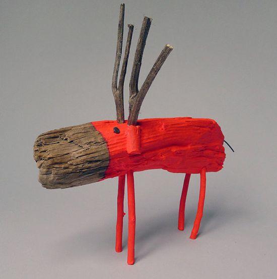 Neon Red Wooden Deer via Etsy