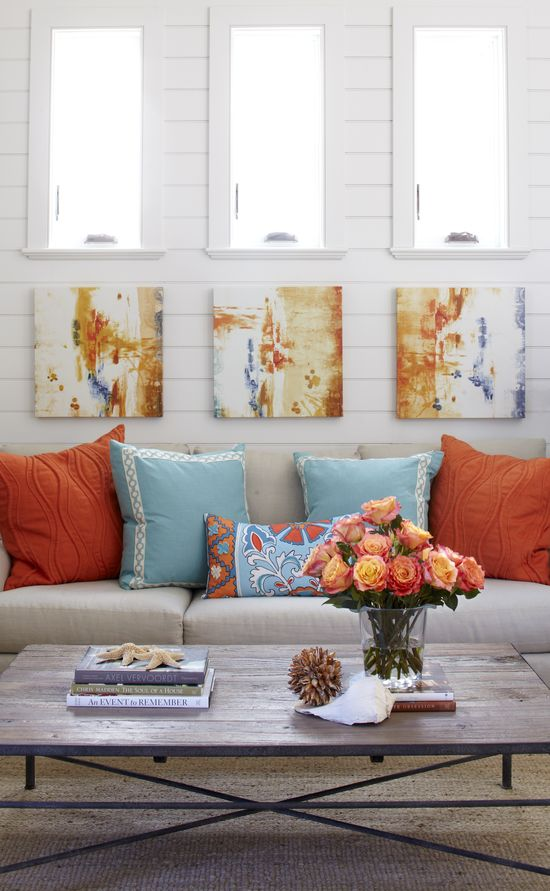 Coral and Turquoise Living Room