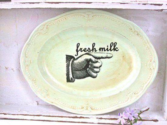 Modern Farmhouse Kitchen Sign Fresh Milk Shabby Chic by SweetMeas, $24.00