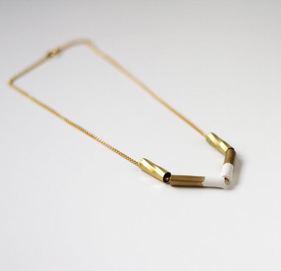 OOAK white & gold necklace #ammjewelry #necklace #gold #brass #white #handmade