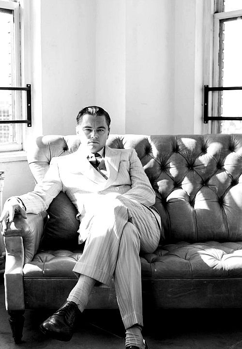Leonardo DiCaprio behind the scenes of The Great Gatsby
