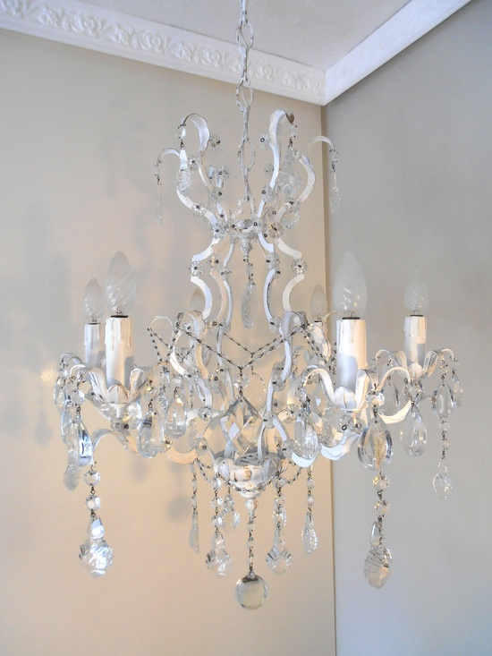 stunning vintage chandelier, 1940s from Italy, white antique shabby chic,