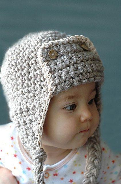 Baby pilot aviator crochet hat