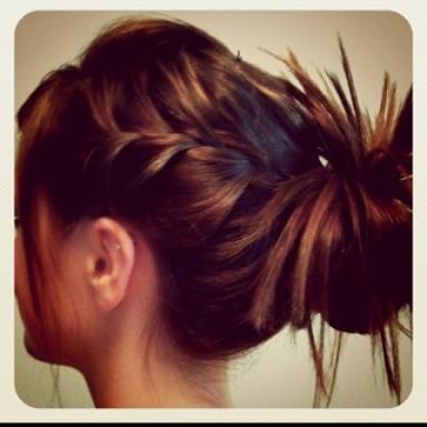side braids messy bun