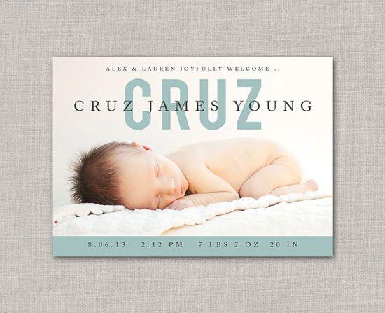 Baby Boy Birth Announcement - Cruz