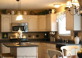 Chic on a Shoestring Decorating: Kitchen Before and After... Featuring Glazed Antiqued Cabinets!