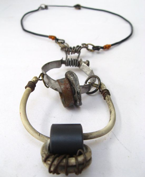 Found Object Necklace Industrial Recycled Junkyard by urbandon, $100.00