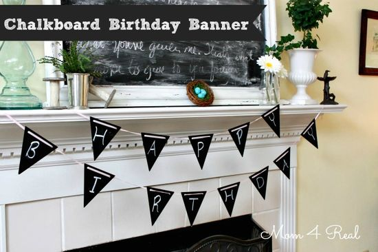Reusable Chalkboard Painted Birthday Banner at www.mom4real.com #woodenpennant