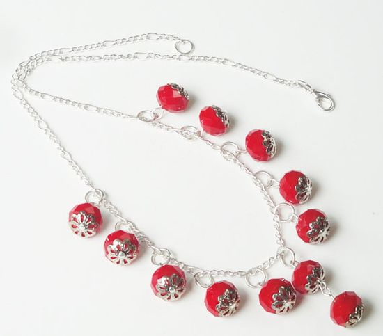 Red Faceted Crystal Dangles Sterling Silver Chain Necklace