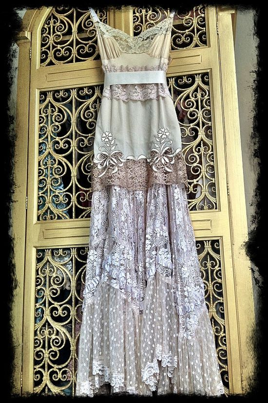Simply STUNNING!  BOHO style, Bohemian Lace Bridal Party dress option.  So fun!!!  This was a one of a kind, use for inspiration or perhaps the Etsy seller can create something one of a kind for you?  ecru ivory & cream lace boho maxi wedding party dress Mermaid Miss K. $175.00, via Etsy.