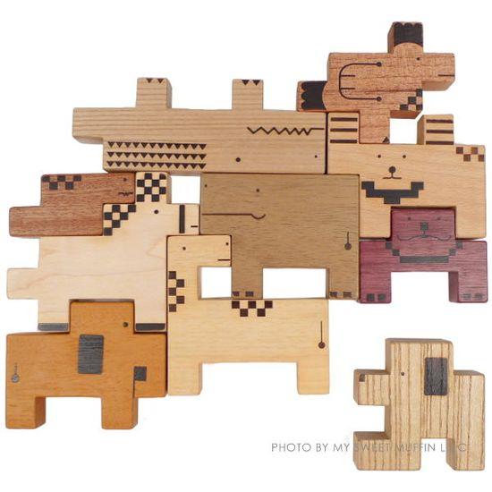 Eco-wooden Animal Blocks