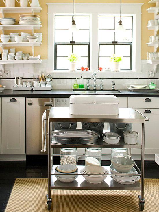 Clean open feeling kitchen.