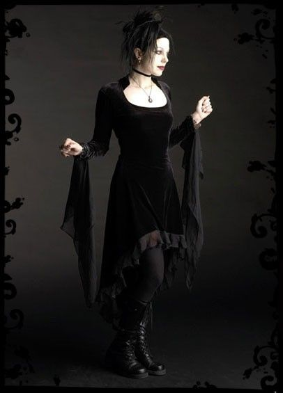 Circee Gothic Dress in Velvet with Dramatic Cuffs  by rosemortem, $139.00