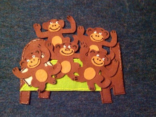 Five Monkeys Jumping on the Bed Children's by FunFeltStories, $10.00