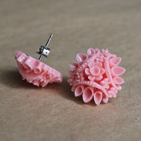 Vintage Style Pink Flower Cluster Earrings from Miss Malaprop