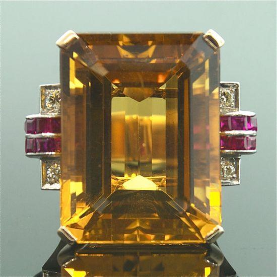 Citrine, Ruby, and Diamond Ring